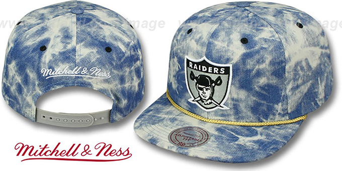 Raiders 'ACID-WASH SNAPBACK' Blue Hat by Mitchell and Ness : pictured without stickers that these products are shipped with