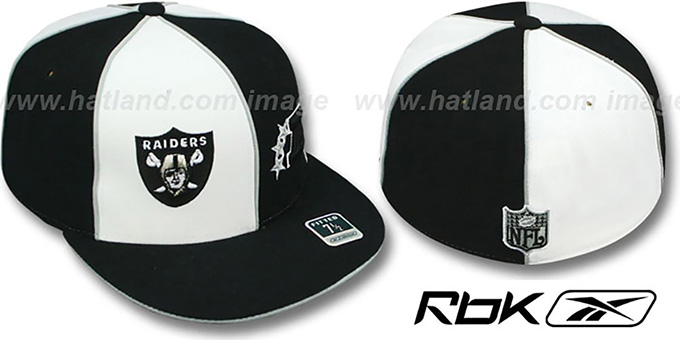 Raiders 'AFC DOUBLE LOGO' White-Black Fitted Hat by Reebok : pictured without stickers that these products are shipped with