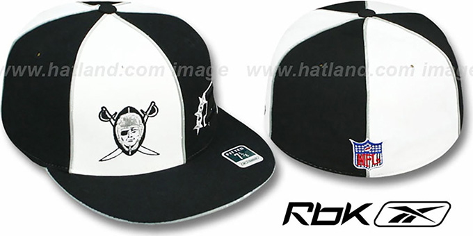 Raiders 'AFC THROWBACK DOUBLE LOGO' White-Black Fitted Hat by Reebok : pictured without stickers that these products are shipped with