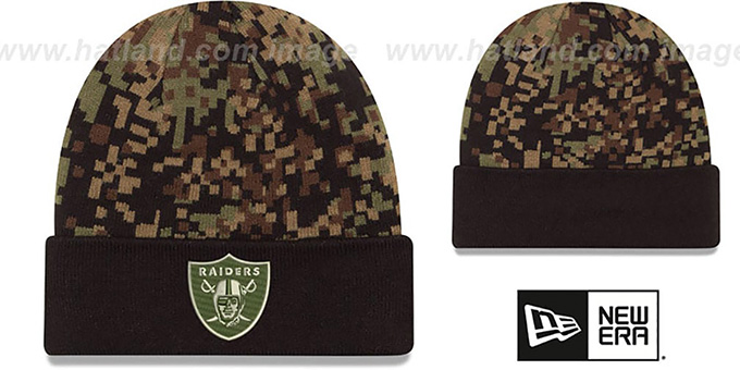 19c5feabe9909 Raiders  ARMY CAMO PRINT-PLAY  Knit Beanie Hat by New Era