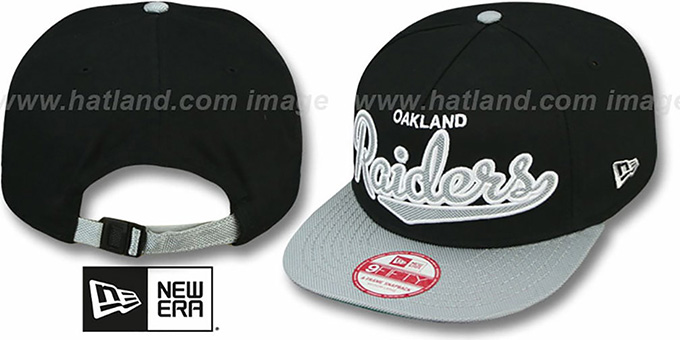 Raiders 'BALLISTIC SCRIPT A-FRAME STRAPBACK' Black-Grey Hat by New Era : pictured without stickers that these products are shipped with