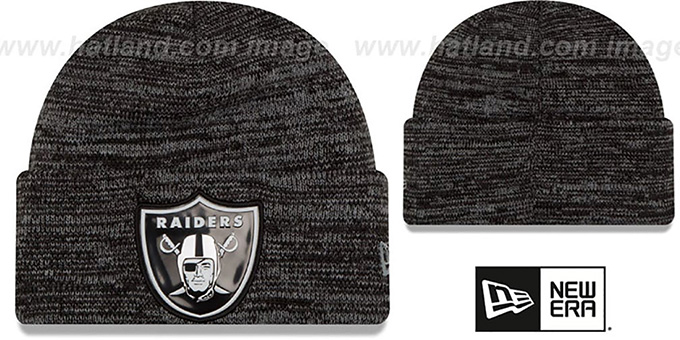 Raiders 'BEVEL' Black-Grey Knit Beanie Hat by New Era : pictured without stickers that these products are shipped with