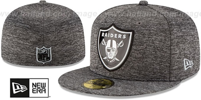 Raiders 'BEVEL' Heather Grey Fitted Hat by New Era : pictured without stickers that these products are shipped with
