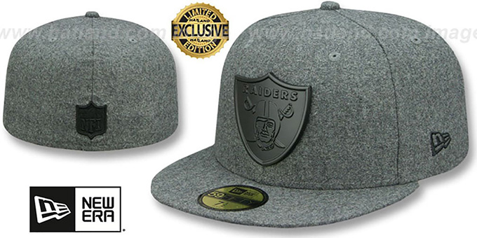 3eb1f330b9d Raiders  BLACK METAL-BADGE  Melton Grey Fitted Hat by New Era