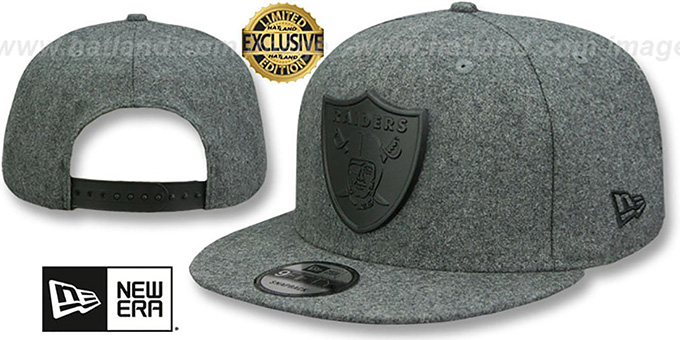 71c039d9a3a Raiders  BLACK METAL-BADGE SNAPBACK  Melton Grey Hat by New Era