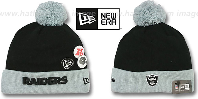 Raiders 'BUTTON-UP' Knit Beanie Hat by New Era : pictured without stickers that these products are shipped with