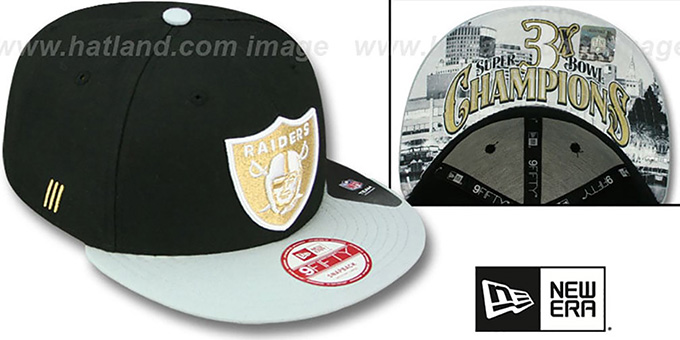Raiders 'CHAMPS-HASH SNAPBACK' Black-Grey Hat by New Era : pictured without stickers that these products are shipped with