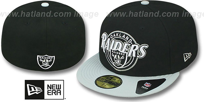 Raiders 'CIRCLE-CLOSER' Black-Grey Fitted Hat by New Era : pictured without stickers that these products are shipped with