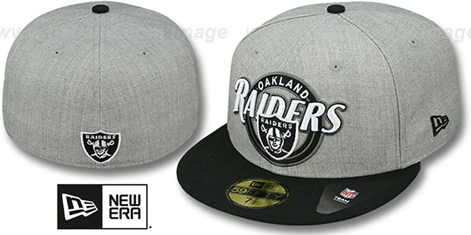 Raiders 'CIRCLE-CLOSER' Grey-Black Fitted Hat by New Era : pictured without stickers that these products are shipped with