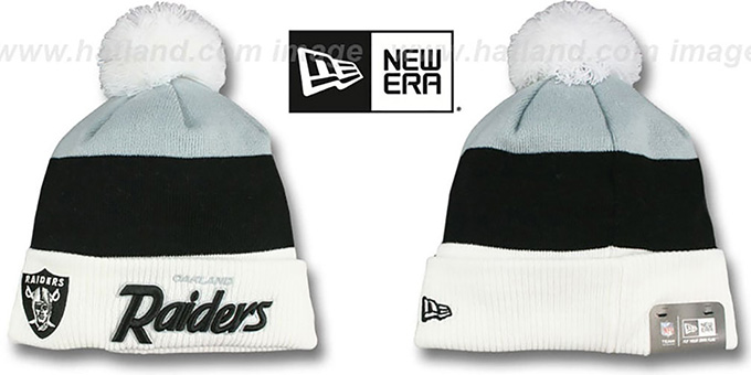 Raiders 'CUFF-SCRIPTER' White-Black-Grey Knit Beanie Hat by New Era : pictured without stickers that these products are shipped with