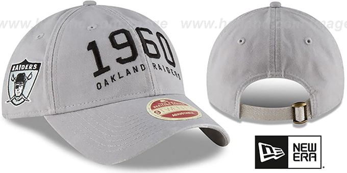 f6a20f2bc9e Raiders  ESTABLISHED YEAR STRAPBACK  Grey Hat by ...