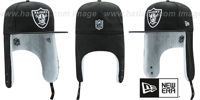 Raiders 'FLURRY-FIT DOGEAR' Black Fitted Hat by New Era : pictured without stickers that these products are shipped with