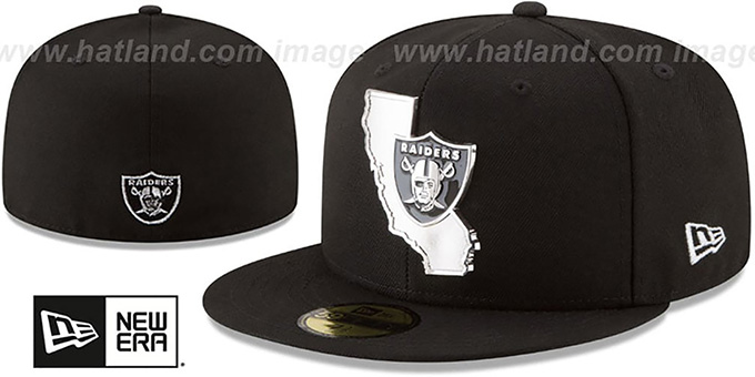 bea70a9f286 Raiders  SILVER STATED METAL-BADGE  Black Fitted Hat by New Era