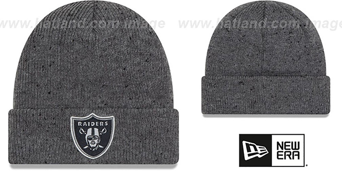 Raiders 'HEATHERED-SPEC' Grey Knit Beanie Hat by New Era : pictured without stickers that these products are shipped with