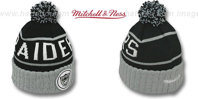 Raiders 'HIGH-5 CIRCLE BEANIE' Black-Grey by Mitchell and Ness : pictured without stickers that these products are shipped with
