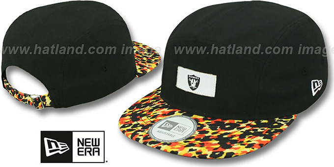 Raiders 'LEOPARD CAMPER STRAPBACK' Black Hat by New Era : pictured without stickers that these products are shipped with