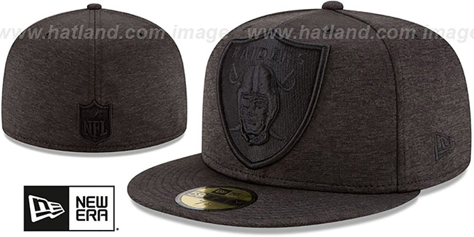 new product 6376a d4b2e Raiders  MEGATONE  Black Shadow Tech Fitted Hat by ...