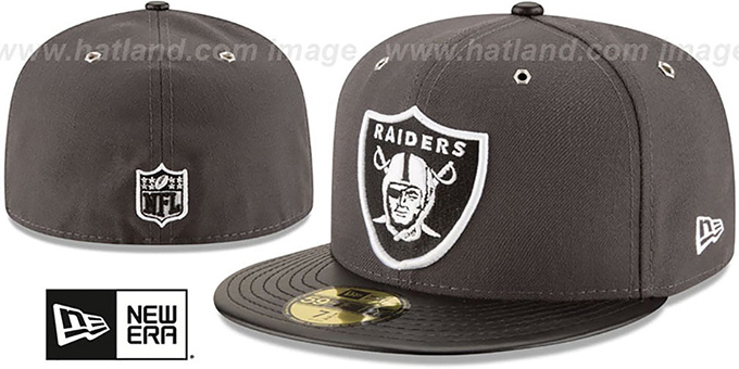 Raiders 'METAL HOOK' Grey-Black Fitted Hat by New Era : pictured without stickers that these products are shipped with