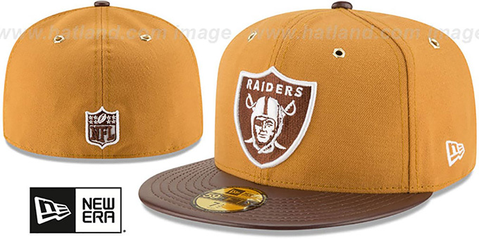 Raiders 'METAL HOOK' Wheat-Brown Fitted Hat by New Era : pictured without stickers that these products are shipped with