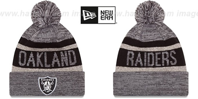 Raiders 'METALLIC STRIPE' Grey-Black Knit Beanie Hat by New Era : pictured without stickers that these products are shipped with