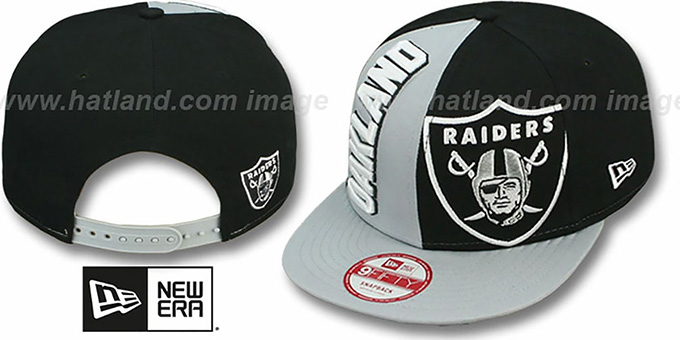 Raiders 'NE-NC DOUBLE COVERAGE SNAPBACK' Hat by New Era : pictured without stickers that these products are shipped with