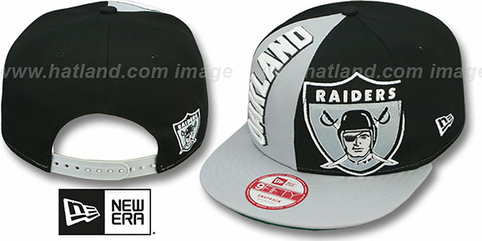 Raiders 'NE-NC THROWBACK DOUBLE COVERAGE SNAPBACK' Hat by New Era : pictured without stickers that these products are shipped with