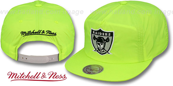 Raiders 'NEON CAMPER SNAPBACK' Lime Hat by Mitchell & Ness : pictured without stickers that these products are shipped with