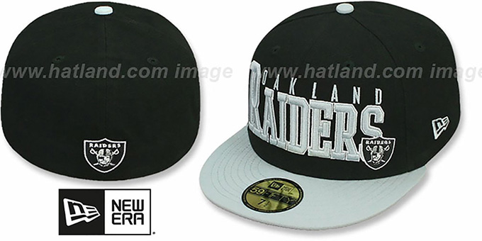 Raiders 'NFL 2T CHOP-BLOCK' Black-Grey Fitted Hat by New Era : pictured without stickers that these products are shipped with