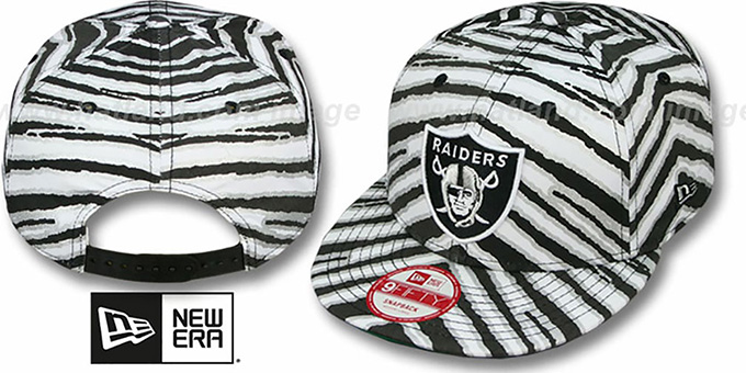 Raiders 'NFL ALL-OVER ZUBAZ SNAPBACK' Hat by New Era : pictured without stickers that these products are shipped with