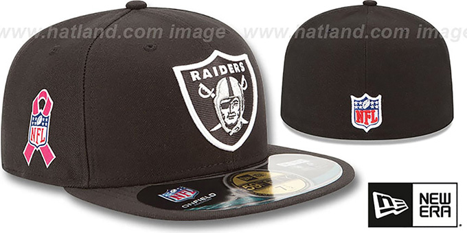 Raiders 'NFL BCA' Black Fitted Hat by New Era : pictured without stickers that these products are shipped with