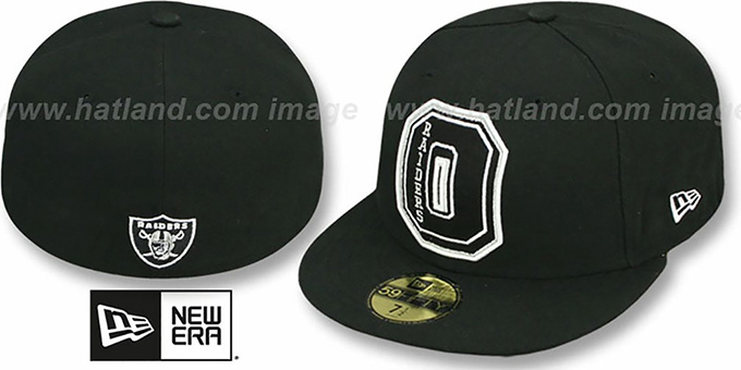 Raiders 'NFL FELTN' Black Fitted Hat by New Era : pictured without stickers that these products are shipped with