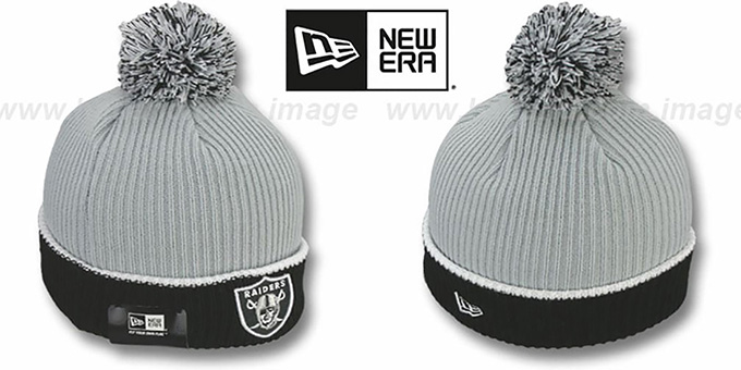 Raiders 'NFL FIRESIDE' Grey-Black Knit Beanie Hat by New Era : pictured without stickers that these products are shipped with