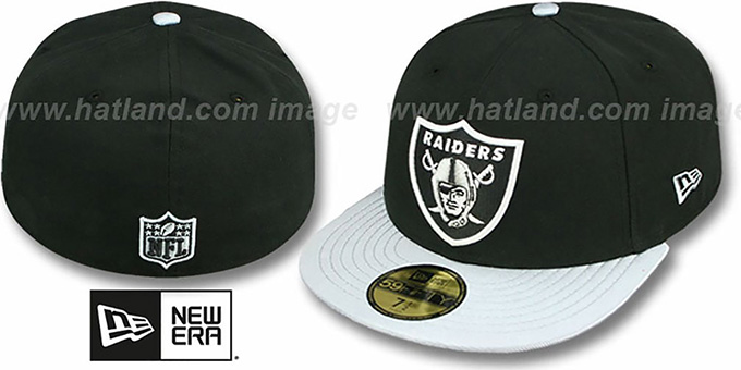 Raiders 'NFL JERSEY-BASIC' Black-Grey Fitted Hat by New Era : pictured without stickers that these products are shipped with