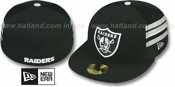 Raiders 'NFL JERSEY-STRIPE' Black Fitted Hat by New Era : pictured without stickers that these products are shipped with