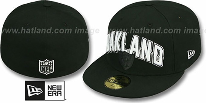 Raiders 'NFL ONFIELD DRAFT' Black Fitted Hat by New Era : pictured without stickers that these products are shipped with