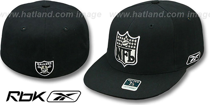 Raiders 'NFL-SHIELD' Black Fitted Hat by Reebok : pictured without stickers that these products are shipped with