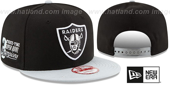 Raiders 'NFL STAR-TRIM SNAPBACK' Black-Grey Hat by New Era : pictured without stickers that these products are shipped with