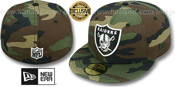 Raiders 'NFL TEAM-BASIC' Army Camo Fitted Hat by New Era : pictured without stickers that these products are shipped with