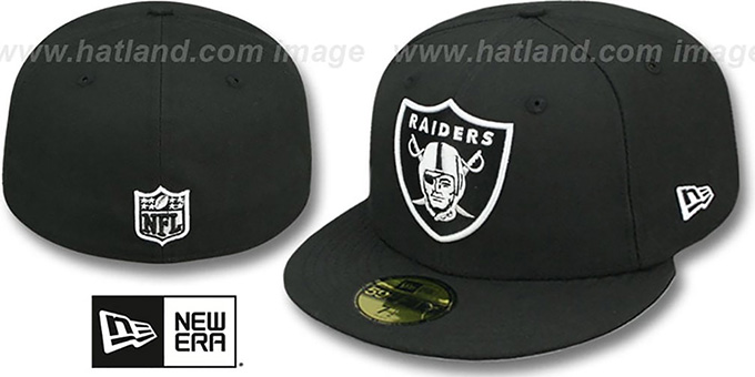 Raiders 'NFL TEAM-BASIC' Black-White Fitted Hat by New Era : pictured without stickers that these products are shipped with