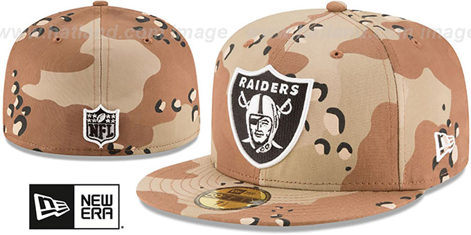 Raiders 'NFL TEAM-BASIC' Desert Storm Camo Fitted Hat by New Era : pictured without stickers that these products are shipped with