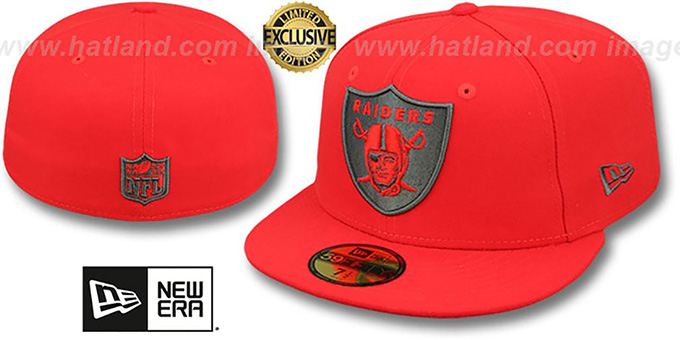 Raiders 'NFL TEAM-BASIC' Fire Red-Charcoal Fitted Hat by New Era : pictured without stickers that these products are shipped with
