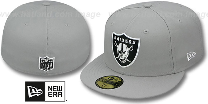 Raiders 'NFL TEAM-BASIC' Grey-Black-White Fitted Hat by New Era : pictured without stickers that these products are shipped with