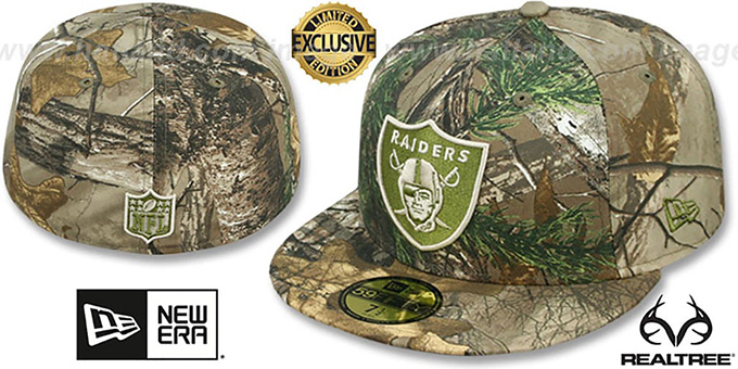 Raiders 'NFL TEAM-BASIC' Realtree Camo Fitted Hat by New Era : pictured without stickers that these products are shipped with