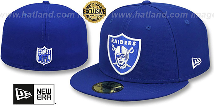 Oakland Raiders Nfl Team Basic Royal White Fitted Hat