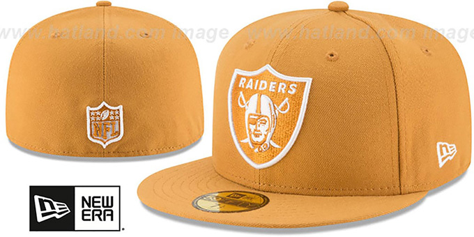 Raiders 'NFL TEAM-BASIC' Wheat-White Fitted Hat by New Era : pictured without stickers that these products are shipped with