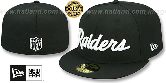 ce144041bb9 Oakland Raiders NFL TEAM-SCRIPT Black Fitted Hat by New Era