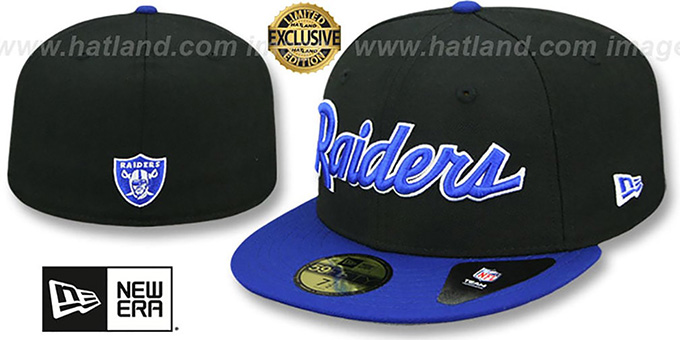 80a645371a2 Raiders  NFL TEAM-SCRIPT  Black-Royal Fitted Hat by New Era