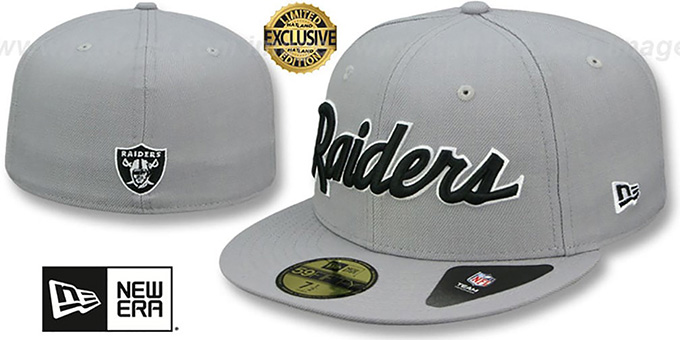 a565d169095 Raiders  NFL TEAM-SCRIPT  Light Grey Fitted Hat by New Era
