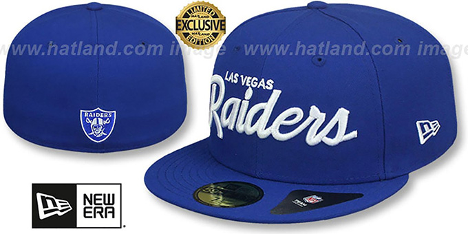 Raiders 'NFL TEAM-SCRIPT' Royal Fitted Hat by New Era