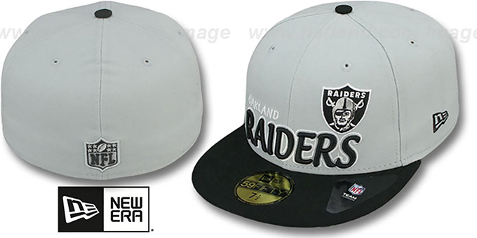 Raiders 'NFL-TIGHT' Grey-Black Fitted Hat by New Era : pictured without stickers that these products are shipped with